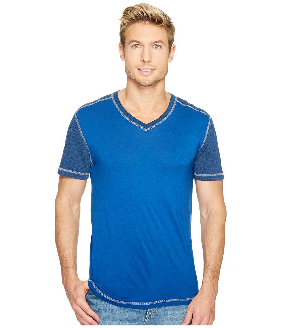 Agave Denim Darren Short Sleeve Color Block V-Neck Tee (True Blue) Men