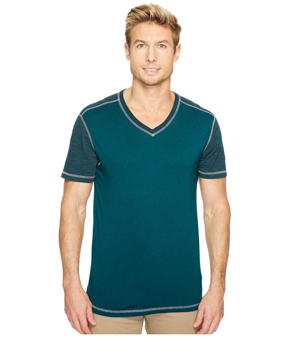 Agave Denim Darren Short Sleeve Color Block V-Neck Tee (Deep Teal) Men