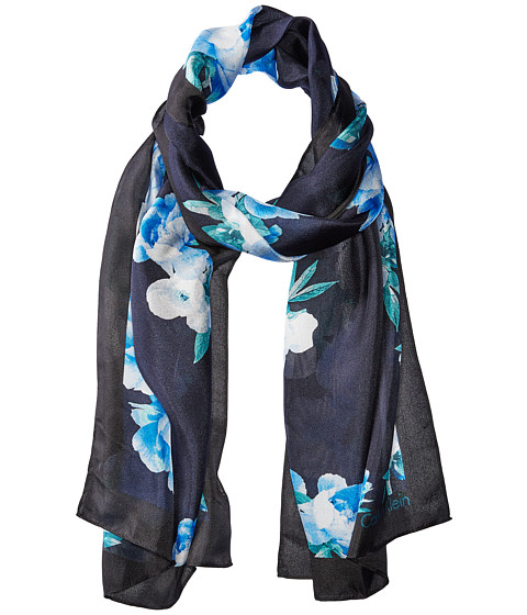 Calvin Klein Floral Border Silk Scarf - Cypress/Teal