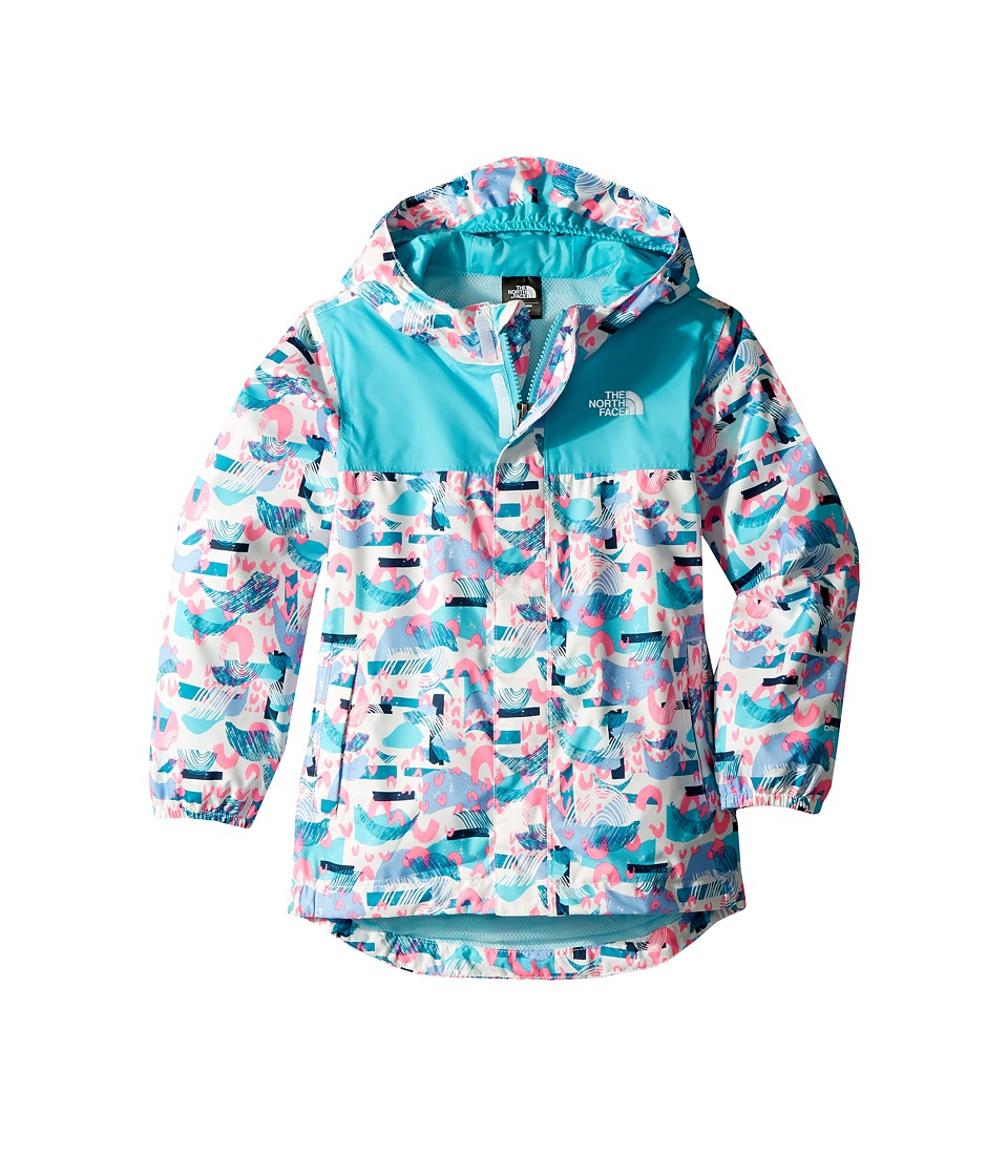 The North Face Kids Tailout Rain Jacket (Toddler) (TNF White Rainbow Print) Girl