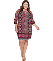 London Times - Plus Size Ornate Diamond Scroll Raglan K Dress