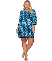 London Times - Plus Size Tribal Tile Keyhole Raglan Shift Dress