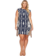 London Times - Plus Size Animal Stripe Jersey Shift Dress