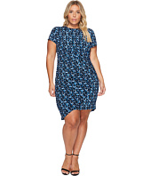 London Times - Plus Size Abstract Flece Side Ruched Sheath Dress