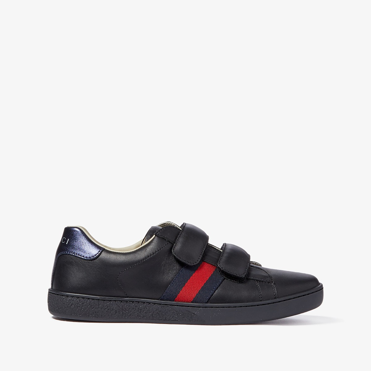 Gucci Kids New Ace V.L. Sneakers (Little Kid/Big Kid) (Anthracite/Blue) Kids Shoes