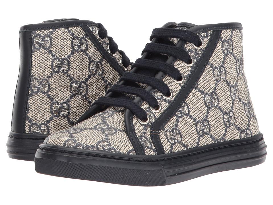 Gucci Kids - GG Supreme High-Top Sneaker (Little Kid) (Navy/Light Brown) Kids Shoes