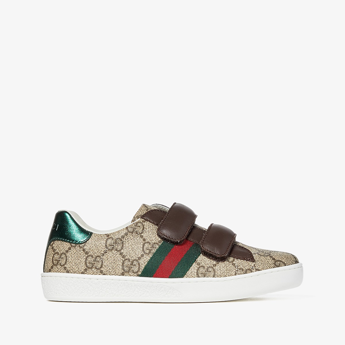 Gucci Kids New Ace V.L. Sneakers (Little Kid) (Beige/Multi) Kids Shoes