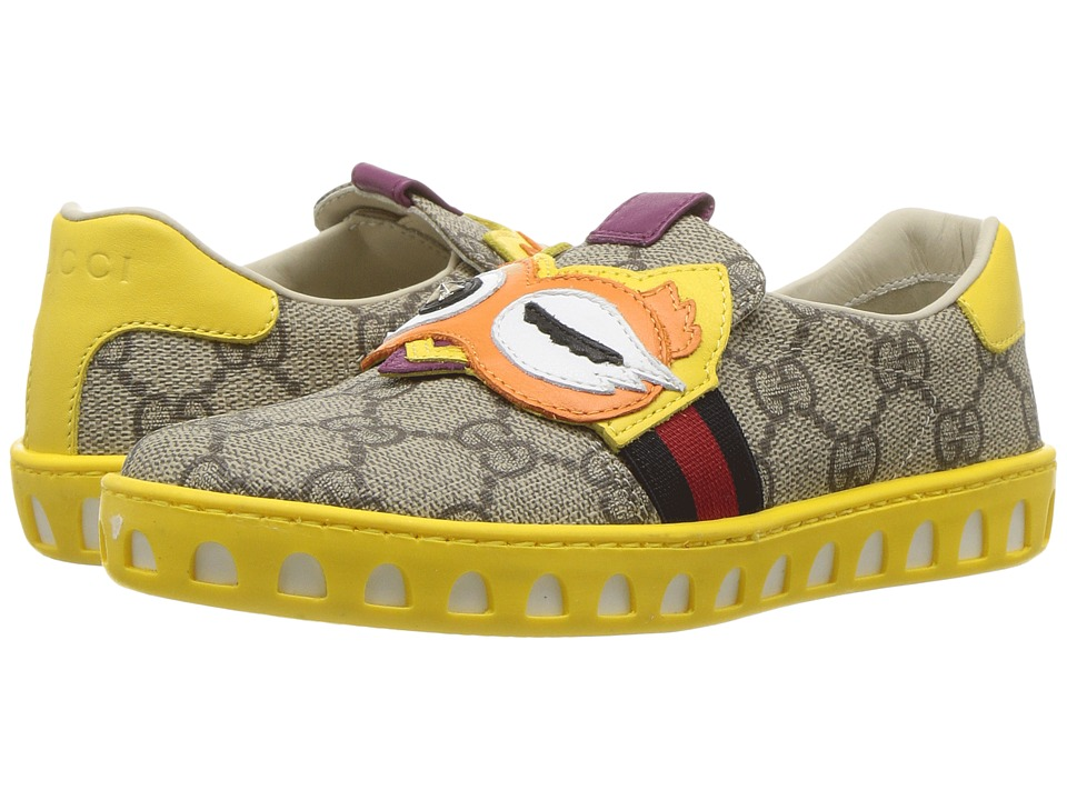 Gucci Kids - New Ace Mask Sneakers (Little Kid) (Beige/Ebony) Kids Shoes