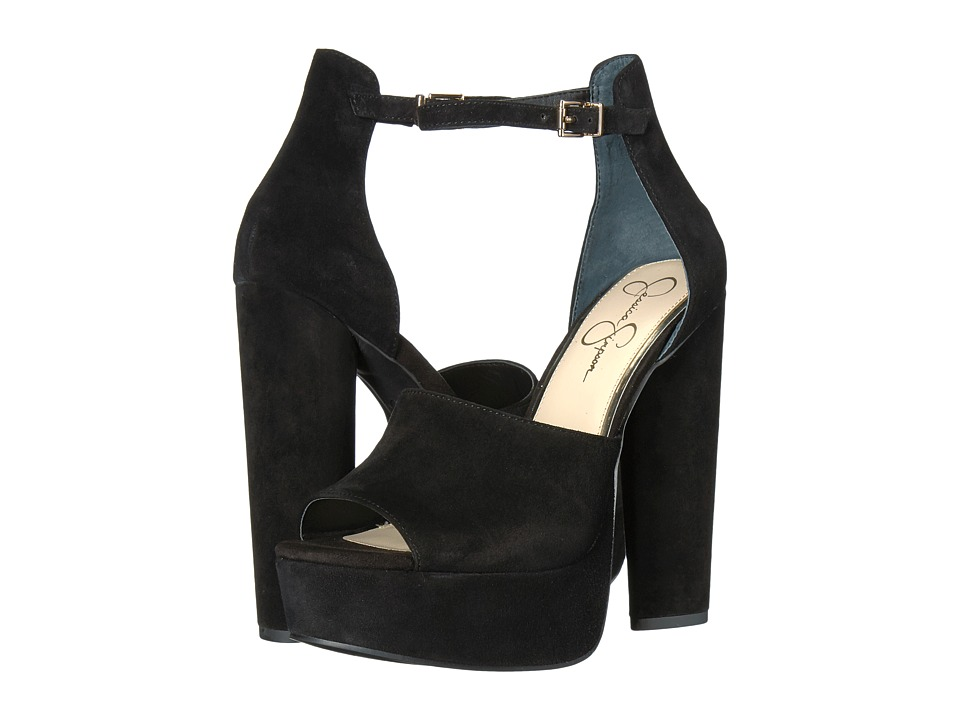 Jessica Simpson Elin (Black Lux Kid Suede) High Heels