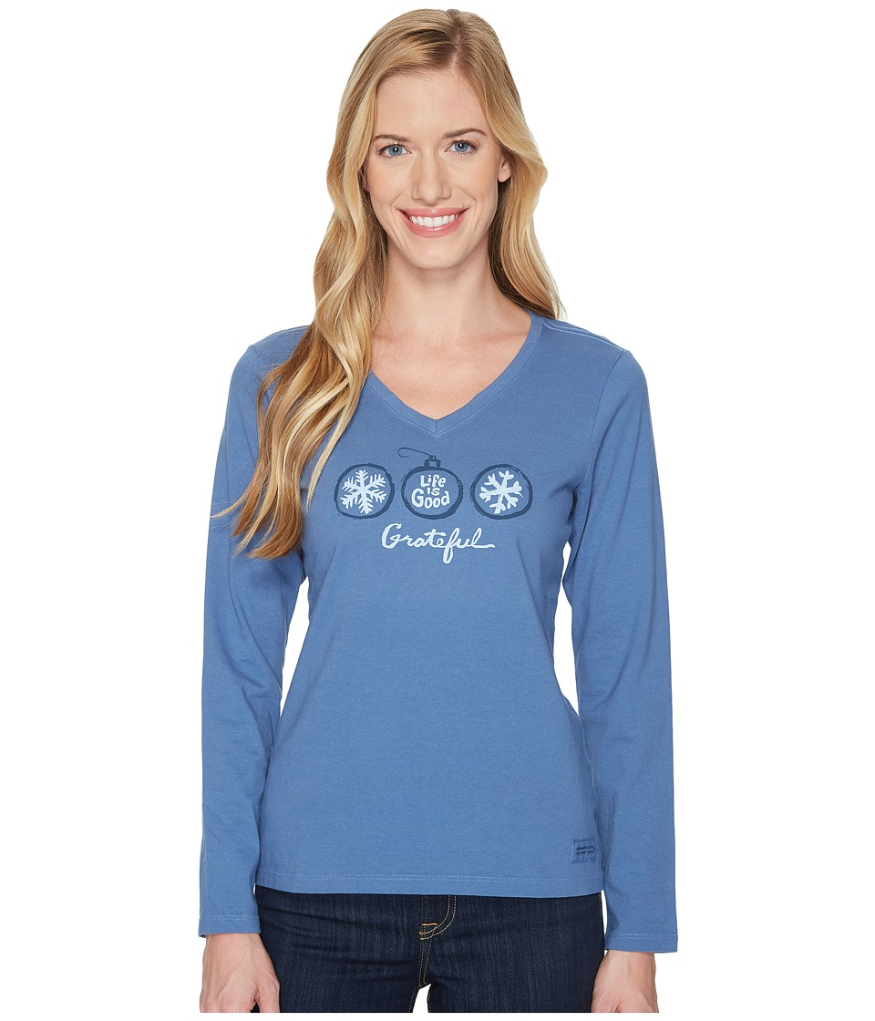 Life is Good Grateful Snowflake Long Sleeve Crusher Vee (Vintage Blue) Women