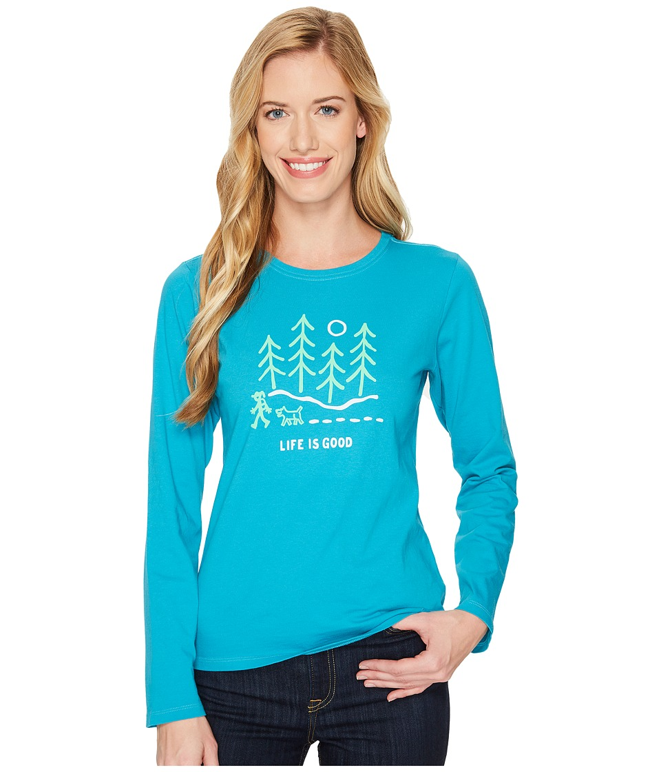 Life is Good Night Woods Long Sleeve Crusher Tee (Cool Turquoise) Women