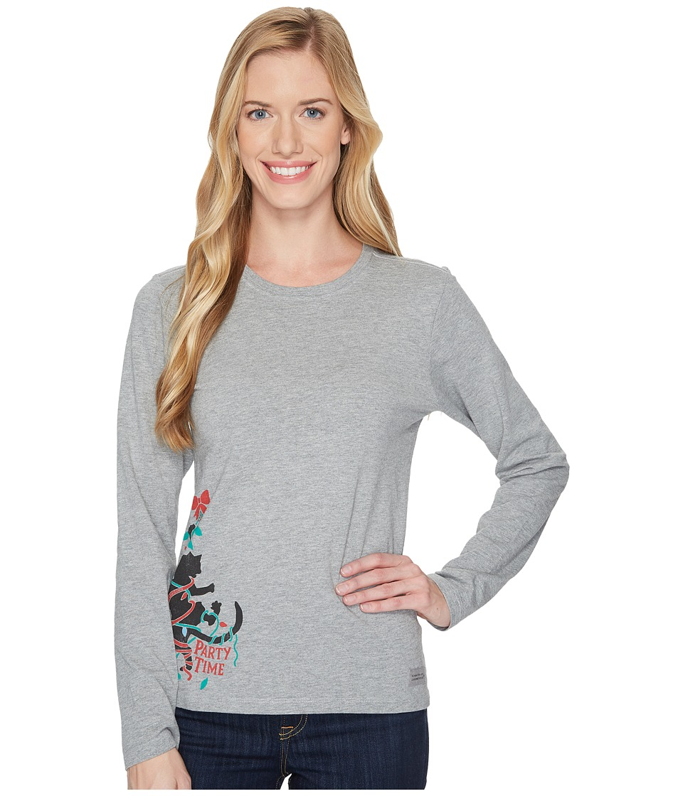 Life is Good Party Time Cat Long Sleeve Crusher Tee (Heather Gray) Women
