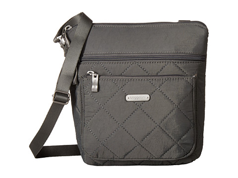 Baggallini Quilted Pocket Crossbody with RFID Wristlet - Pewter Quilt