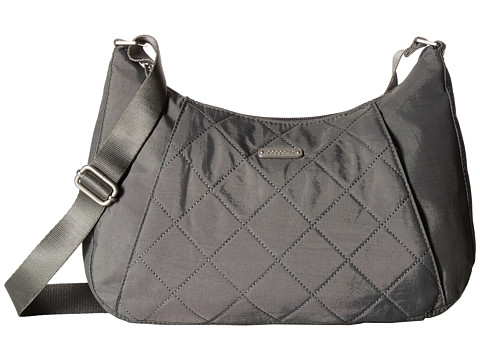 Baggallini Quilted Slim Crossbody Hobo with RFID - Pewter Quilt