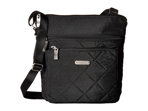 Baggallini Quilted Pocket Crossbody with RFID Wristlet - Black Quilt