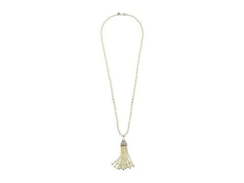 Kenneth Jay Lane Rhodium/Rhinestone White Pearl Tassel Necklace - White Pearl