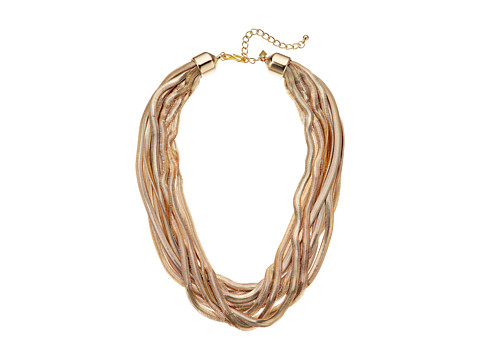 Kenneth Jay Lane 10 Row Gold Snake Chain Necklace - Gold