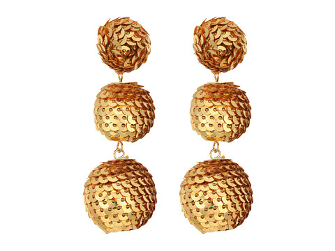 Kenneth Jay Lane 2 Gold Sequin Wrapped Ball Post Earrings w/ Dome Top - Gold