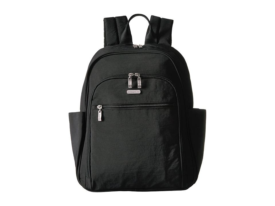Baggallini Essential Laptop Backpack with RFID (Black/Sand) Backpack Bags