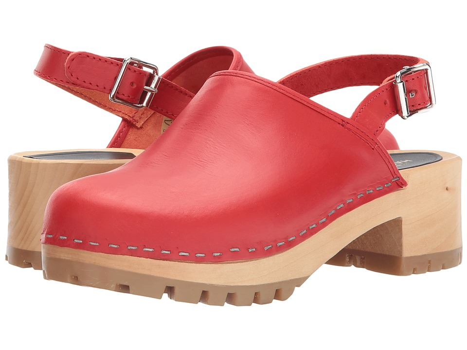 Swedish Hasbeens Jill (Red) Women's Clog/Mule Shoes