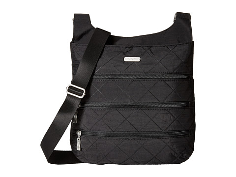 Baggallini Quilted Big Zipper Bag with RFID - Black Quilt