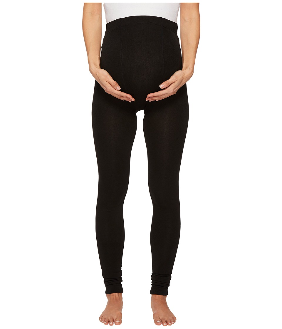 Plush - Maternity Fleece-Lined Footless Tights (Black) Hose