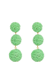 Kenneth Jay Lane - 2 Mint Green Seed Bead Wrapped Ball Post Earrings w/ Dome Top
