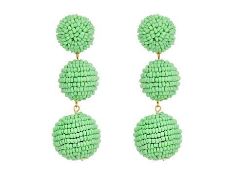 Kenneth Jay Lane 2 Mint Green Seed Bead Wrapped Ball Post Earrings w/ Dome Top - Mint Green