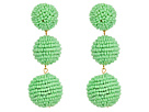 Kenneth Jay Lane 2 Mint Green Seed Bead Wrapped Ball Post Earrings w/ Dome Top