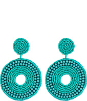 Kenneth Jay Lane - Turquoise Seed Bead Circle Drop Clip Earrings