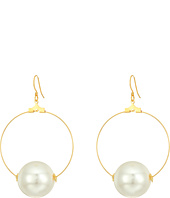 Kenneth Jay Lane - Gold Hoop with 20mm White Pearl Ball Fishhook Ear Earrings