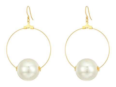 Kenneth Jay Lane Gold Hoop with 20mm White Pearl Ball Fishhook Ear Earrings - Gold/White Pearl