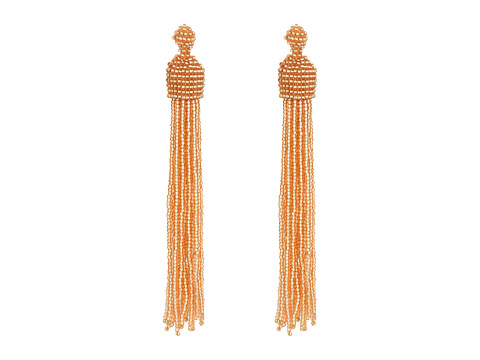 Kenneth Jay Lane Champagne Bead Tassel Direct Post Ear Earrings - Champagne