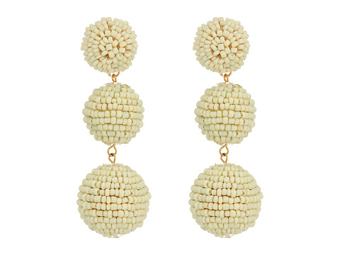 Kenneth Jay Lane 2 Ivory Seed Bead Wrapped Ball Post Earrings w/ Dome Top - White