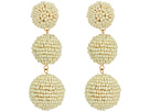 Kenneth Jay Lane 2 Ivory Seed Bead Wrapped Ball Post Earrings w/ Dome Top