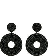 Kenneth Jay Lane - Black Seed Bead Circle Drop Direct Post Earrings