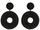 Kenneth Jay Lane Black Seed Bead Circle Drop Direct Post Earrings