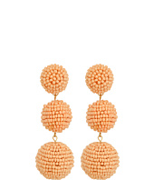 Kenneth Jay Lane - 2 Peach Pink Seed Bead Wrapped Ball Post Earrings w/ Dome Top