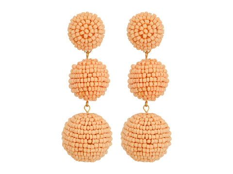 Kenneth Jay Lane 2 Peach Pink Seed Bead Wrapped Ball Post Earrings w/ Dome Top - Peach Pink