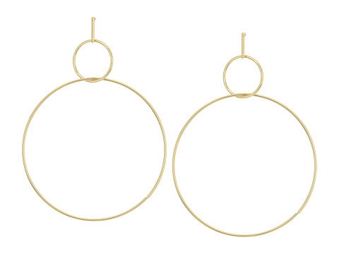 Kenneth Jay Lane Polished Gold Small Circle Top Large Circle Drop Post Earrings - Polished Gold