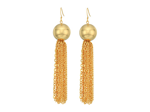 Kenneth Jay Lane Polished Gold Ball with Tassel Fishhook Earrings - Polished Gold