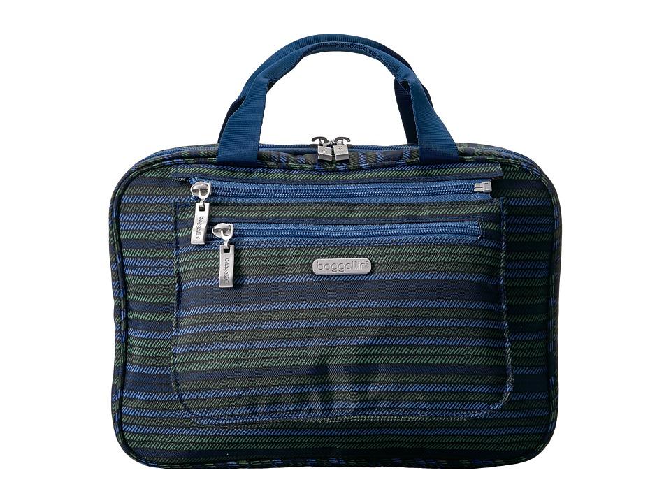 Baggallini Deluxe Travel Cosmetic (Moss Stripe Multi) Cosmetic Case