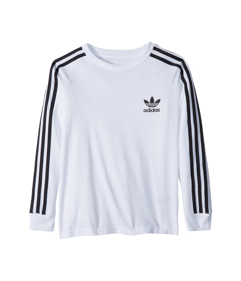 Image of adidas Originals Kids - California Long Sleeve Tee (Little Kids/Big Kids) (White/Black) Boy's Long Sleeve Pullover