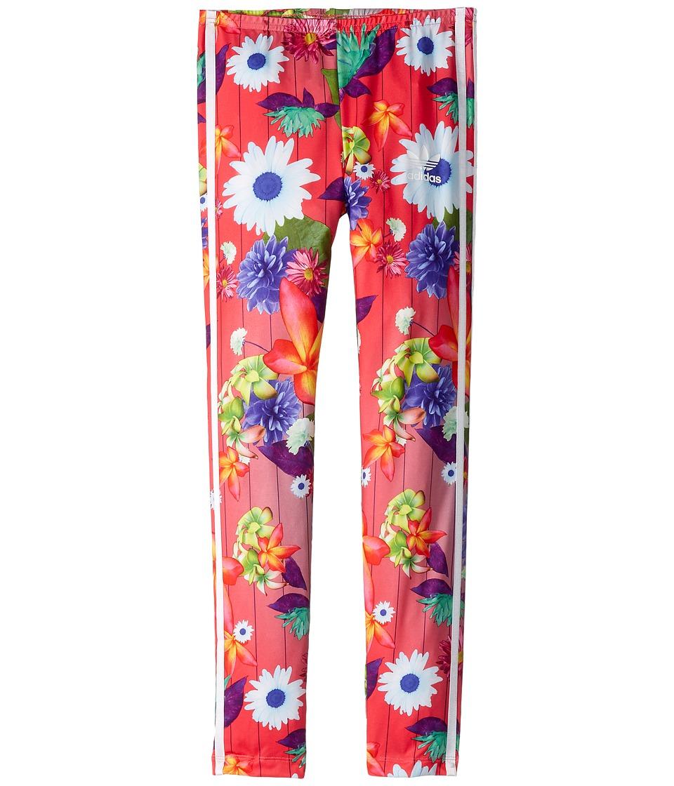 adidas Originals Kids - Floral Graphic All Over Print Leggings (Little Kids/Big Kids) (Multicolor/White) Girls Casual Pants