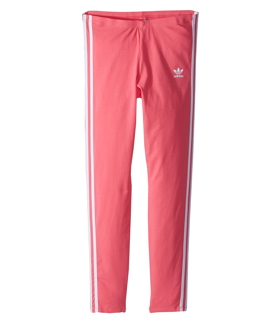 Image of adidas Originals Kids - 3-Stripes Leggings (Little Kids/Big Kids) (Real Pink/White) Girl's Casual Pants