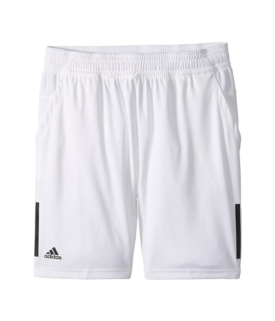 Image of adidas Kids - 3-Stripes Club Shorts (Little Kids/Big Kids) (White) Boy's Shorts