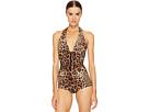 Dolce & Gabbana Cheetah Tie Neck Maillot Swim One-Piece