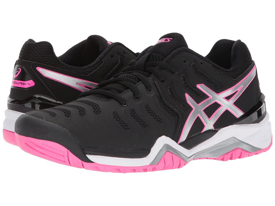 ASICS - Gel-Resolution 7 (Black/Silver/Hot Pink) Womens Tennis Shoes