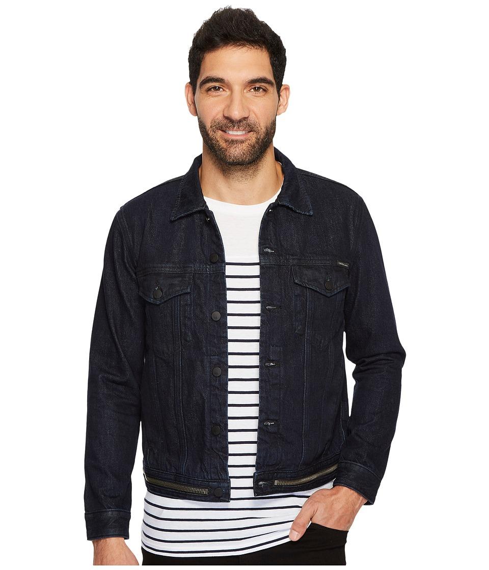 Calvin Klein Jeans Waistband Zip Trucker Jacket (Magnetic Blue) Men