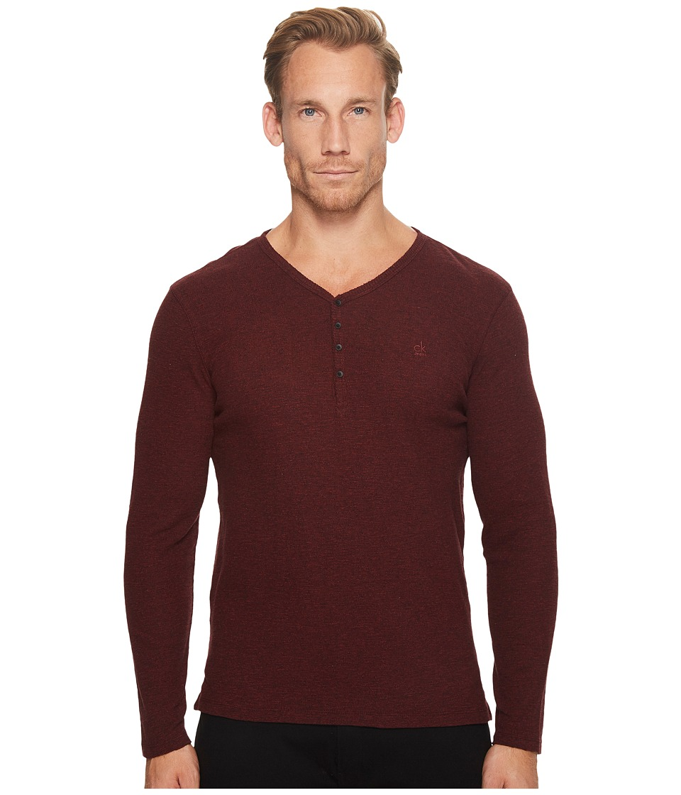 Calvin Klein Jeans Waffle Y-Neck Henley Shirt (Cherry Grindle) Men